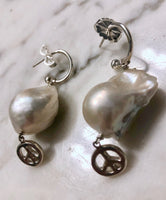 Baroque Pearl Earrings with Sterling Silver Peace Sign Charm