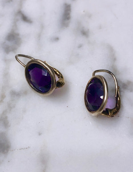Purple Amethyst Drop Earrings set in Solid Sterling Silver