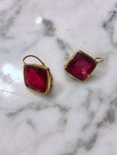 Ruby over Crystal Topaz Single Drop Earrings with Solid Gold Setting
