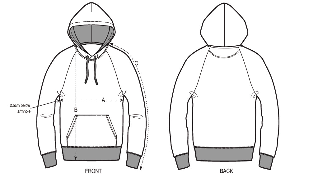 Size chart_Hoodies for men