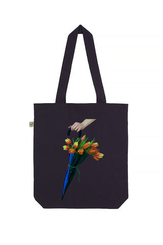 Blooming Umbrella Navy Tote Bag