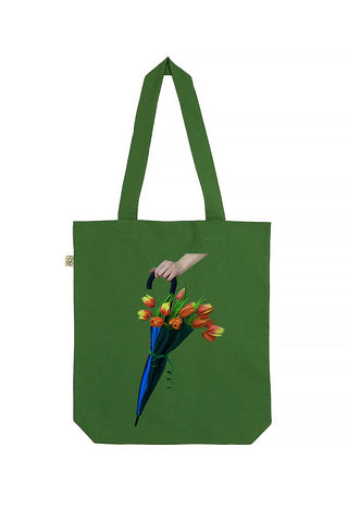 Blooming Umbrella Leaf Green Tote Bag