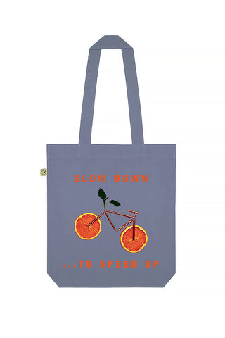 Orange Bicycle Print Tote Bag