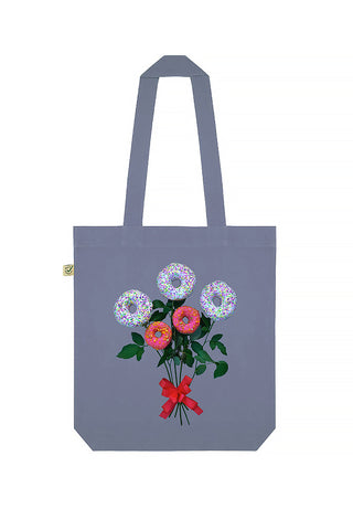 Donut Flowers Print Tote Bag