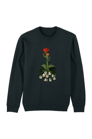 Flower Lady Print Sweatshirt - Black