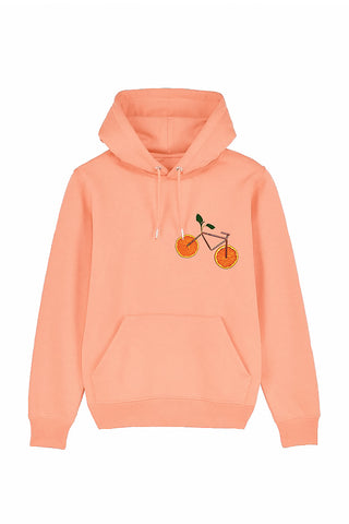 Orange Bicycle Print Hoodie
