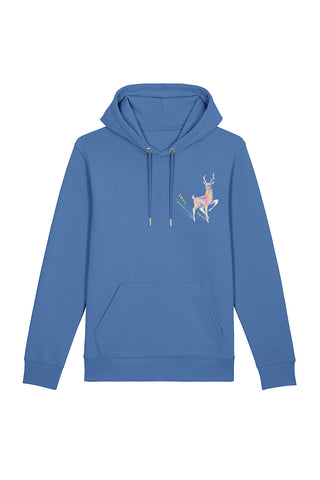 Magic Deer Chest Print Hoodie - Cornflower Blue