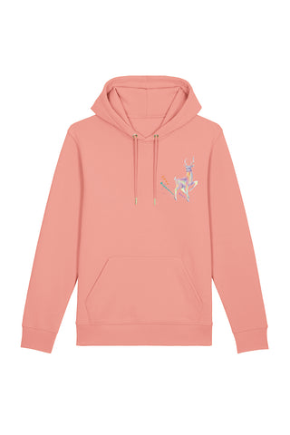 Magic Deer Chest Print Hoodie - Canyon Pink