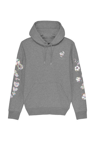 Organic Cotton Printed Hoodie - Silver Grey