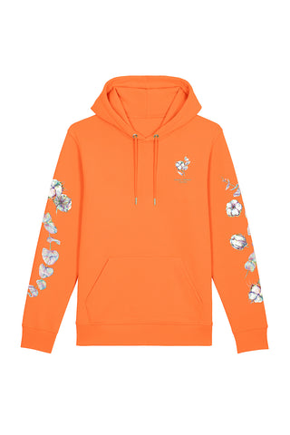 Organic Cotton Print Hoodie - Melon Orange