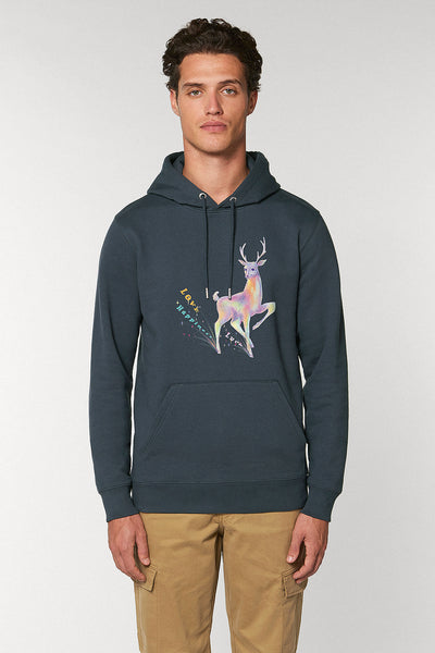 Magic Deer Print Hoodie - Graphite Grey