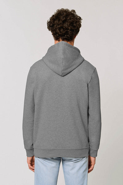 Organic Cotton Chest Print Hoodie - Silver Grey