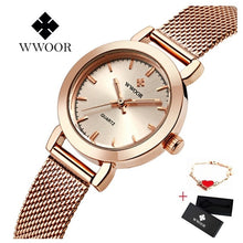 Load image into Gallery viewer, WWOOR Women Dress Watches Luxury Brand Ladies Quartz Watch Stainless Steel Mesh Band Casual Gold Bracelet Wristwatch reloj mujer