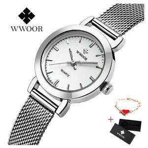 WWOOR Women Dress Watches Luxury Brand Ladies Quartz Watch Stainless Steel Mesh Band Casual Gold Bracelet Wristwatch reloj mujer