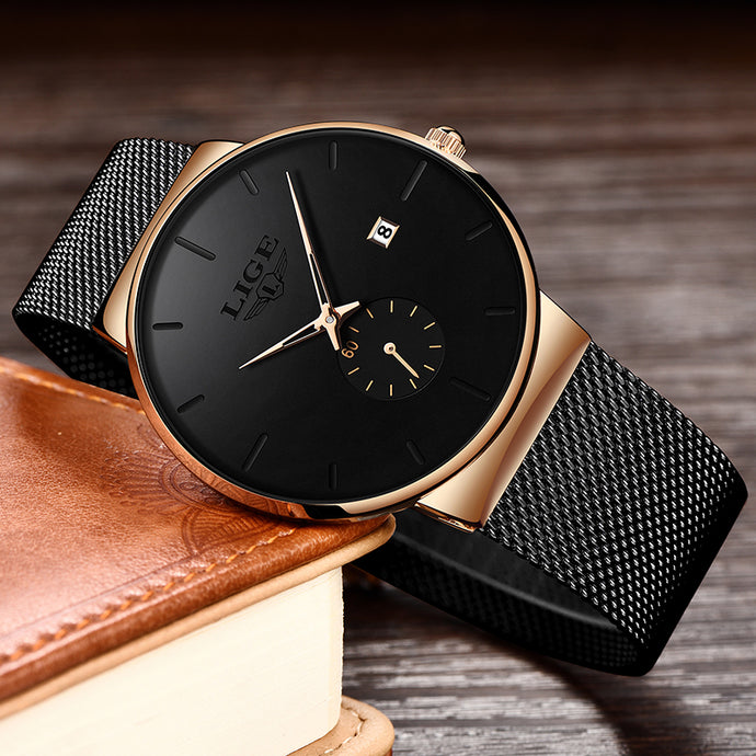 LIGE Fashion Watches Casual Waterproof Quartz Clock Mens Watches Top Brand Luxury Ultra-Thin Date Sports Watch Relogio Masculino