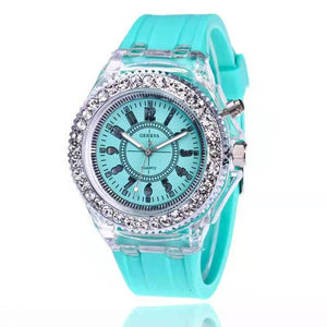 2019 led Flash Luminous Watch Personality trends students lovers jellies woman men's watches 7 color light WristWatch best Gifts