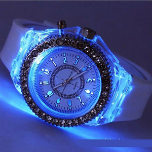 LED Backlight Relogio Masculino Flash Luminous Crystal Quartz Trend Waterproof Wrist Watch 5 Color Light WristWatch Watches