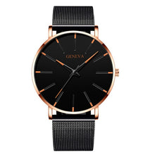 Load image into Gallery viewer, Luxury Fashion Mens Minimalist Watches Ultra Thin black Stainless Steel Mesh Band Watch Men Business Casual Analog Quartz clock