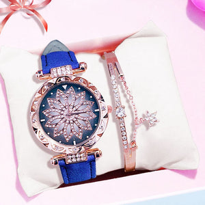 Luxury Women Watches Bracelet set Starry Sky Ladies Bracelet Watch Casual Leather Quartz Wristwatch Clock gift Relogio Feminino