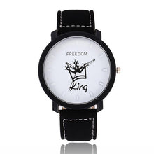 Load image into Gallery viewer, New Relogio Couples Watch King & Queen Leather Quartz Watch Mens Ladies Fashion Sport Clock Men's Watches Women's Watches Gifts