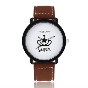 New Relogio Couples Watch King & Queen Leather Quartz Watch Mens Ladies Fashion Sport Clock Men's Watches Women's Watches Gifts