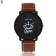 Load image into Gallery viewer, Newest Couple Queen King Crown Fuax Leather Quartz Analog Wrist Watch Chronograph 2017 Wom reloj mujer