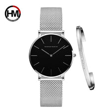 Load image into Gallery viewer, Women Watch 1 set Bracelet Japan Quartz Movement Simple Waterproof Rose Gold Stainless Steel Mesh Ladies watch relogio feminino