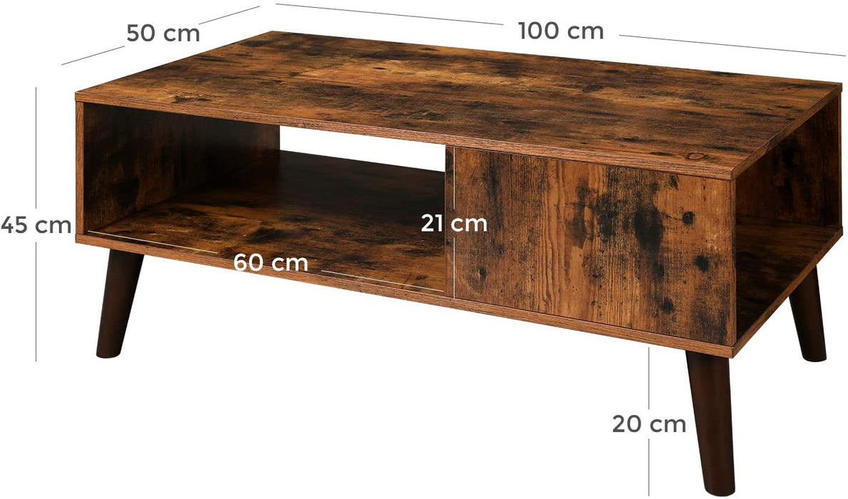 Salontafel retro Industrieel Design | Houtlook | 100x50x45cm