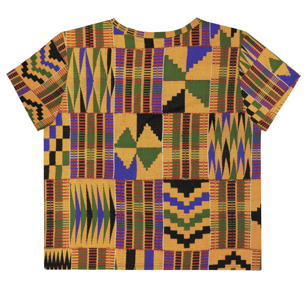 All-Over Kente Print Crop Tee