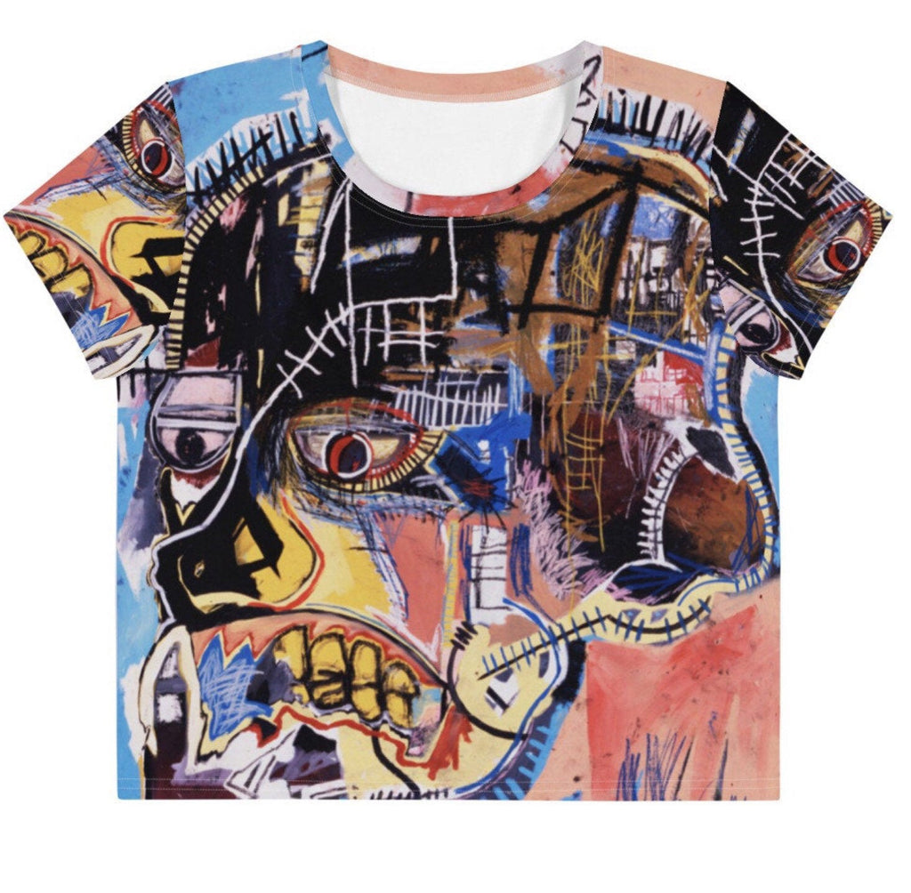 Basquiat Skull All-Over Print Crop Tee