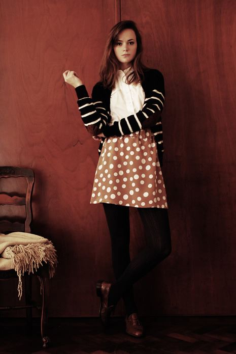 Jupe a pois model photoshoot