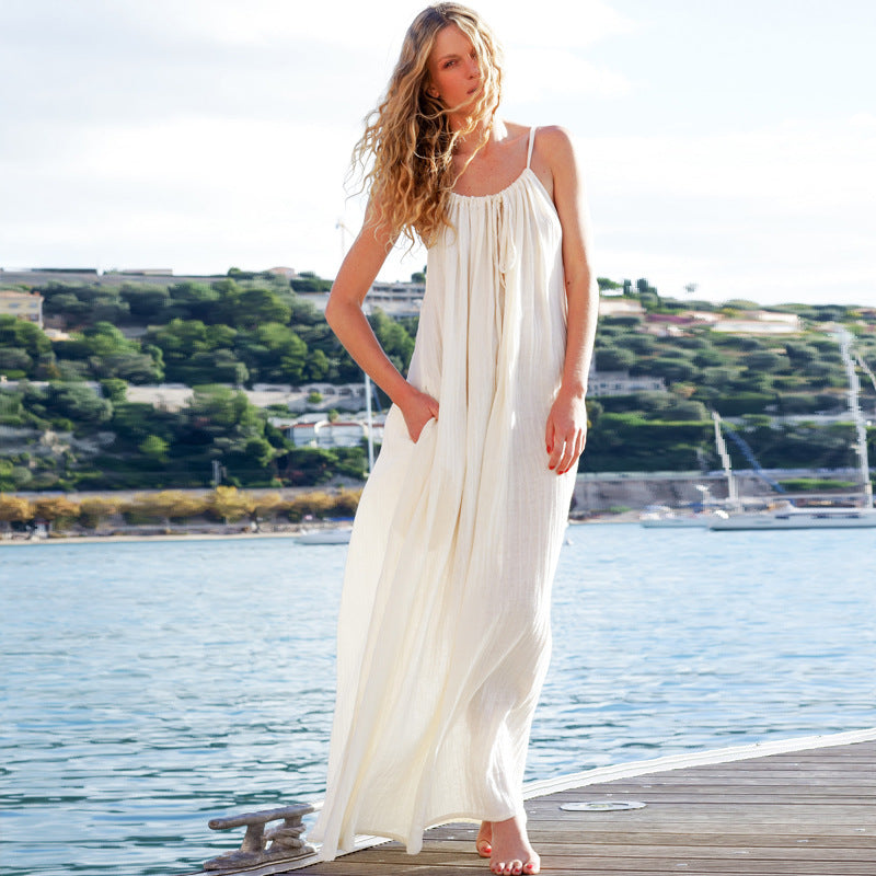 TEELYNN sexy sleeveless strap maxi dress women beach robe solid beige cotton long dress casual 2020 summer vestidos boho dresses