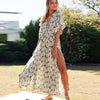 TEELYNN Sexy Deep V Neck Maxi Dress women Vestidos 2020 Vintage Floral print Side split Boho dresses Summer beach Casual Dresses