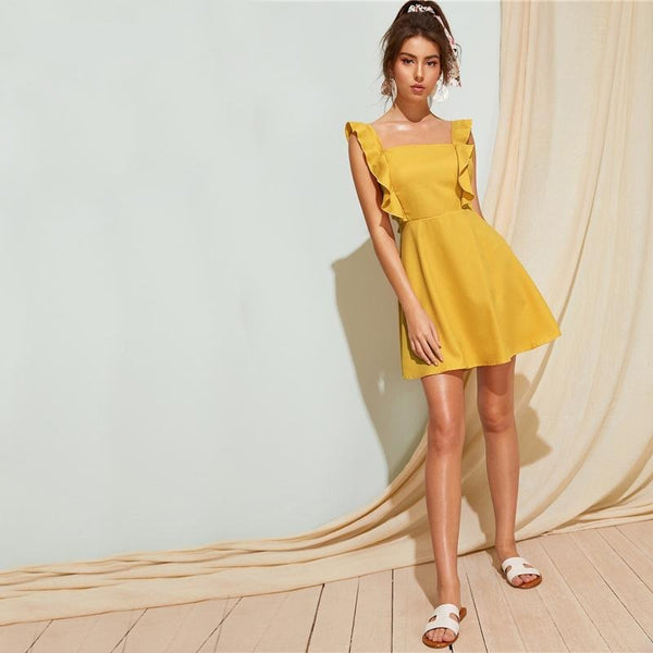 "Robe dos nu jaune ""Willow"""