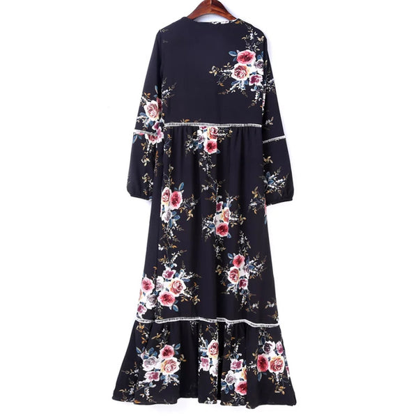 Black Chiffon floral print Dresses 2017 new A-line Vinatge long sleeve sexy V-Neck Maxi Dress elegant casual chic women dress