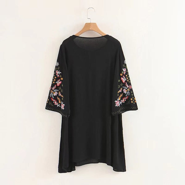 TEELYNN summer dress Floral Embroidery mini dresses 2018 rayon o-neck short sleeve boho chic dresses Casual loose dress women