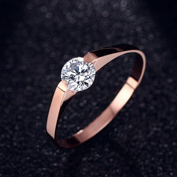 Bague or rose pierre de zircon