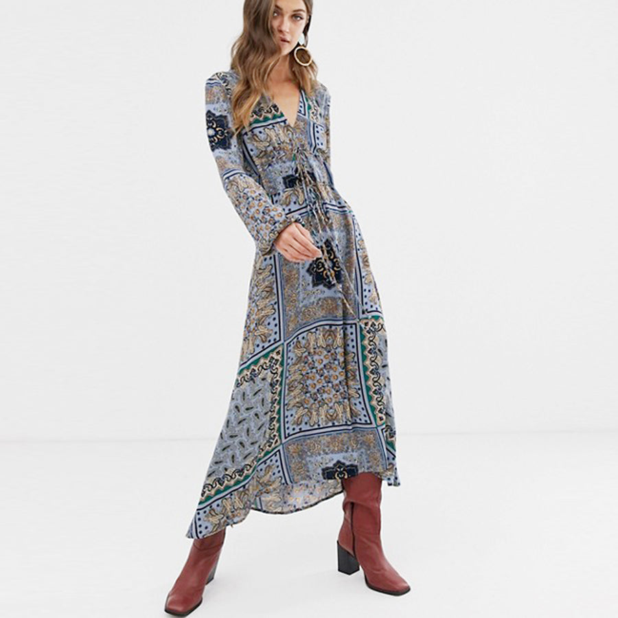TEELYNN long Gypsy dress 2019 rayon blue floral print Dresses v-neck Drawstring waist long sleeve women dresses BOHO vestidos