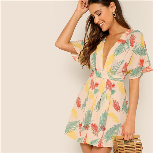 "Robe courte tropical style boheme ""Sequoia"""