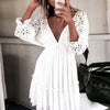 TEELYNN Sexy Backless deep v neck Mini Dress Women 2020 Summer Embroidery Cotton White Lace Dresses Short Tunic Beach vestidos