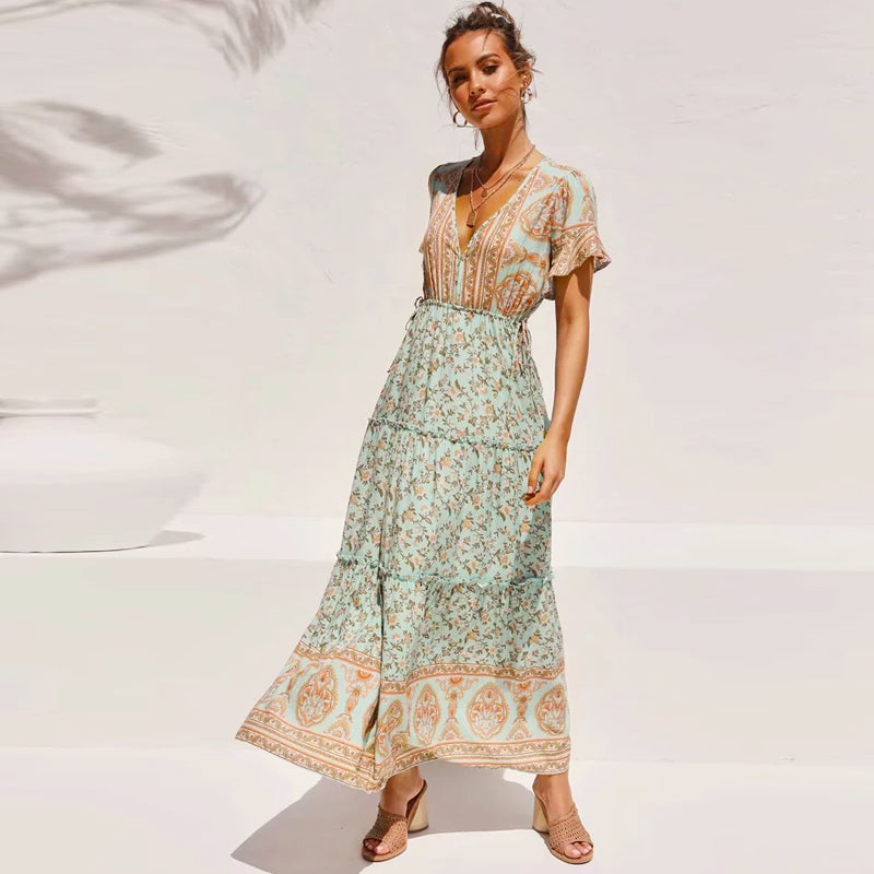 TEELYNN Ruffle Sleeve Maxi Dress women V Neck cotton Vintage Floral Print 2020 Summer dresses Vestidos boho Beach Casual Dresses