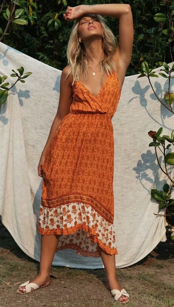 "Robe hippie chic imprimé orange ""Valia"""