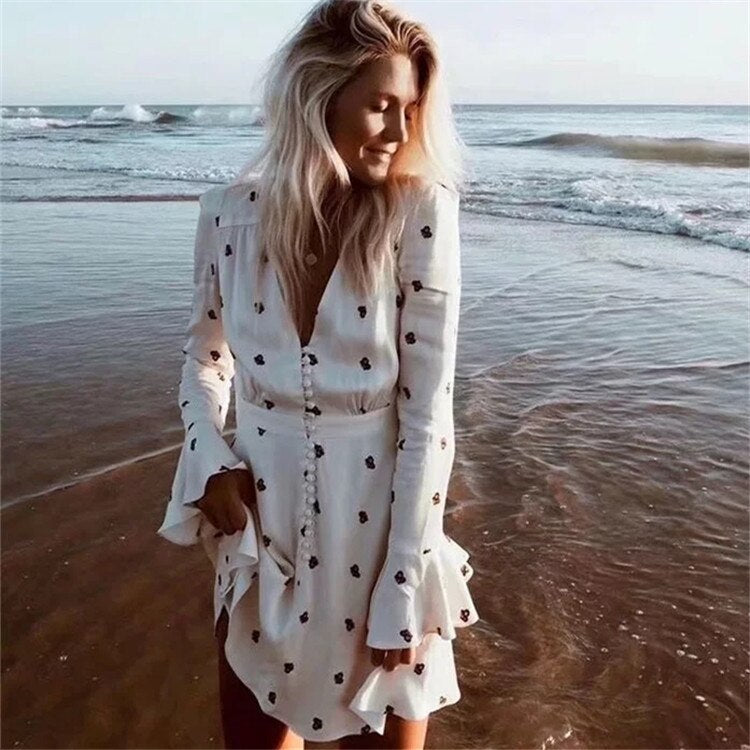 TEELYNN Satin mini dresses for women 2020 vintage floral print dress sexy V neck long sleeve boho beach dress Bohemian vestido