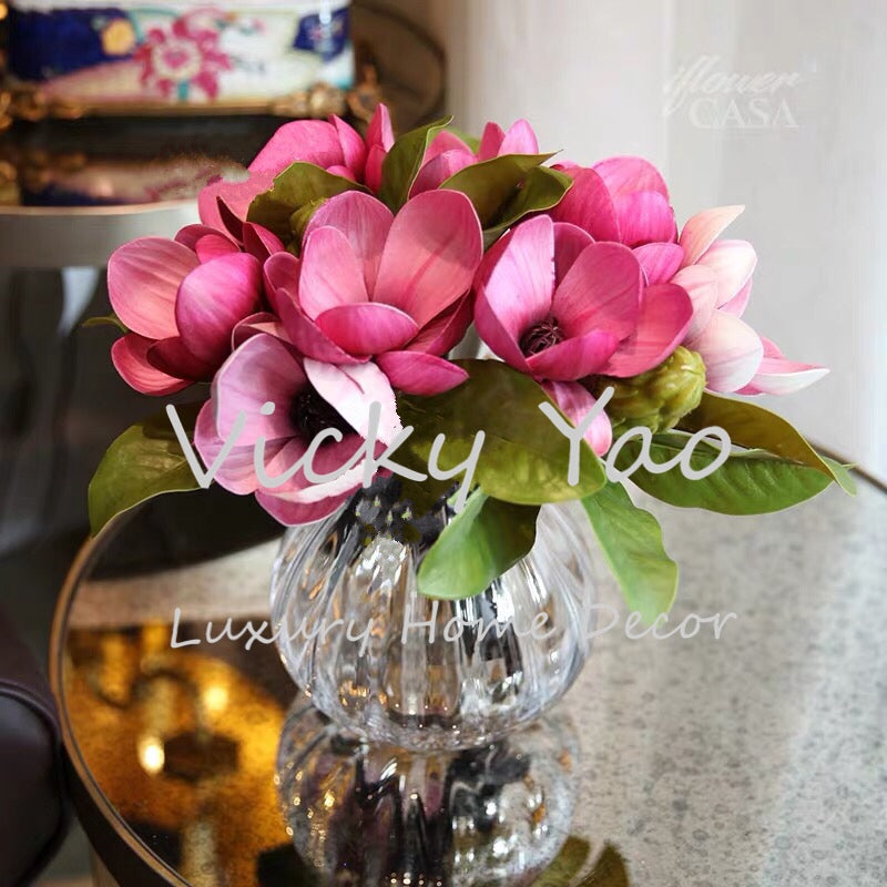 Vicky Yao Faux Floral -Real Touch Baby Pink Magnolia Floral Arrangement - Vicky Yao Home Decor SEO