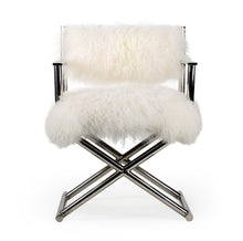 將圖片載入圖庫檢視器 Vicky Yao Home Decor - Luxury White Fur Real Mongolian Lambs Wool Chair