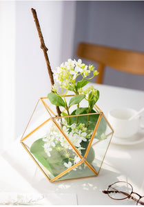 Vicky Yao Faux Floral - Glass Flower House Metal Basket Floral Arrangement