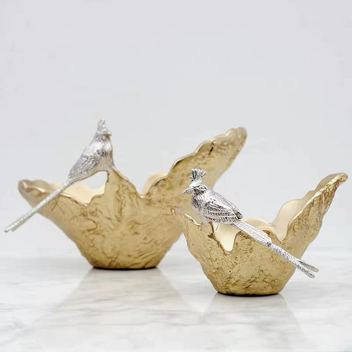 Vicky Yao Table Decor - Luxury Exclusive Design Handmade Shaped Golden Bird Fruit Bowl/Vase