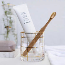 Load image into Gallery viewer, Vicky Yao Table Decor - Exclusive Design Handmade Gold Clear Toothbrush Cup 400ml