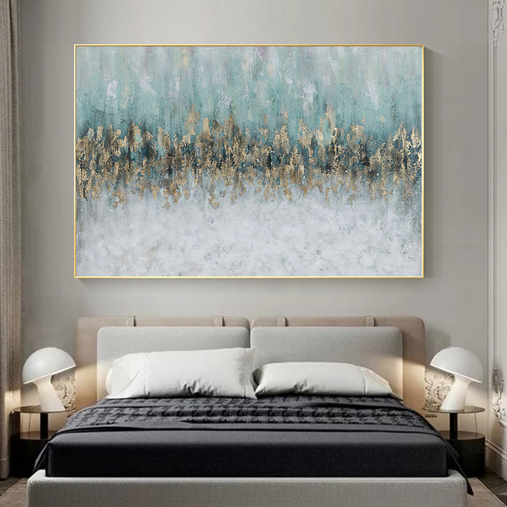 Vicky Yao Wall Decor - Luxury Golden Blue Ocean Canvas Prints