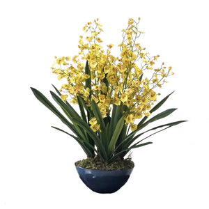 Vicky Yao Faux Floral - Exclusive Design Artificial Yellow Dancing Orchid Arrangement
